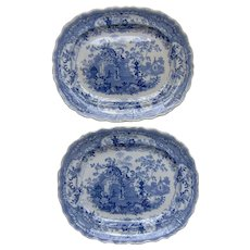 Pair of C19th Staffordshire Blue & White Transfer Printed Ironstone  platters