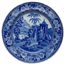 """Blue and White Transfer Printed Plate """"View of Fort Madura"""