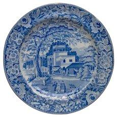 "Blue and White Transfer Printed Plate ""Eastern Street Scene"""