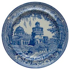 "Blue and White Transfer Printed Plate ""Monopteros"""