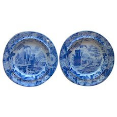 Pair of Don Pottery Transfer Printed Soup Plates