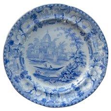 "Blue and white transfer printed plate ""Surseya Ghaut Khanpore"""