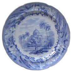 """Blue and White Transfer Printed Plate """"Mausoleum of Kausim Solemanee"""""""