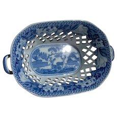 A Rogers Fallow Deer Pattern Pearlware Chestnut Basket