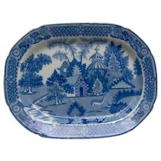 Blue and White Transfer Printed Platter, Spotted Deer Pattern