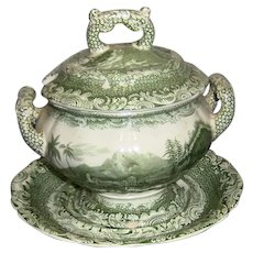 Copeland Garrett Late Spode Byron Views Sauce Tureen, Lid and Base