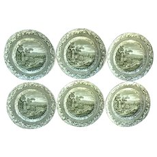A Set of Six Copeland Spode green Transfer Printed Byron Views Dinner Plates