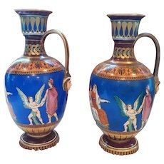 A Pair of Samuel Alcock Neoclassical Decorated Vases