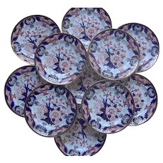 Set of 12 Crown Derby Dinner Plates King's Pattern