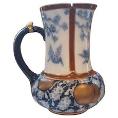 19th Century English Majolica Pitcher with Metal Lid