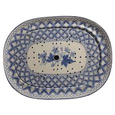 A Spode Blue and White Platter with Drainer Geranium Pattern