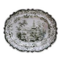A Large Green Transfer Printed Tree and Well Platter