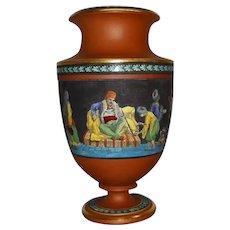 A Prattware Terracotta Vase