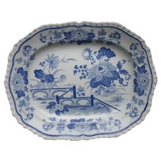 A Small Blue and White Ironstone Platter by Hick and Meigh