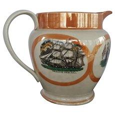 A Large Sunderland Orange Luster Transfer Decorated Pottery Jug