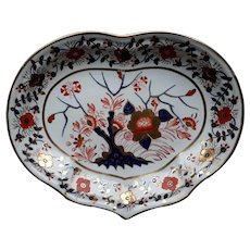 Derby Heart Shaped Dish, Tree of Life Pattern