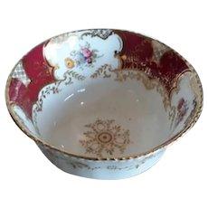 A Red Coalport Batwing Sugar Bowl