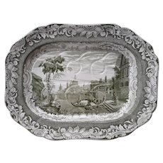 Copeland Garrett Late Spode Byron Views Tree and Well Platter, Bay of Naples