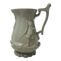 A Drabware Relief Molded Stoneware Jug depicting British Soldiers