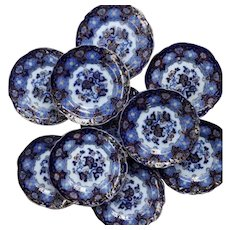 Set of Ten Flow Bluish Ironstone Plates - Charles Meigh
