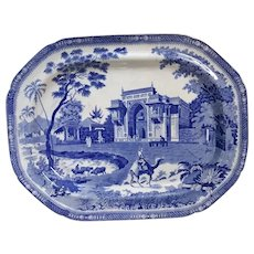 """A Blue and White Transfer Printed Platter """"Gate Leading to Masjed at Chunar Ghur"""" or camel pattern"""