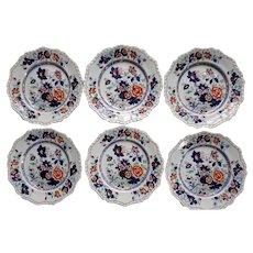 "Set of Six 10.5"" Plates Hicks & Meigh 'Stone China'  Pattern 53"