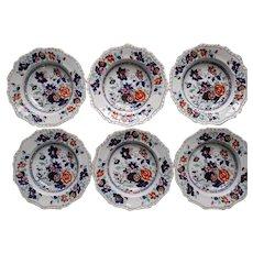 "Set of Six 10"" Soup Bowls, Hicks & Meigh 'Stone China'  Pattern 53"