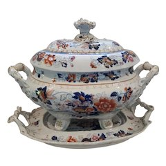 A Hicks & Meigh 'Stone China' Soup Tureen and Tray, Pattern 53