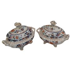 A Pair of  Hicks & Meigh 'Stone China' Sauce Tureens, Pattern 53