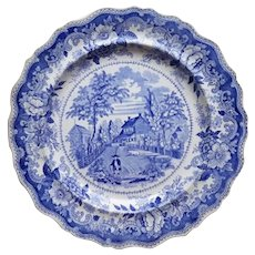 "A Blue Transfer Printed Dinner Plate, ""Residence of the Late Richard Jordan, New Jersey"""