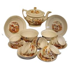 "A Hilditch Porcelain Part Tea Set ""English Shepherd"" Pattern"