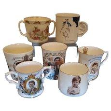 Seven Royal Commemorative China Cups / Mugs relating to Prince Charles