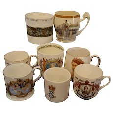 Eight Royal Commemorative China Cups or Mugs