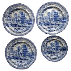 Four Staffordshire Transfer Printed Pearlware Plates