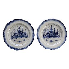 A Pair of Small Blue and White Pearlware Plates, Pagoda Pattern