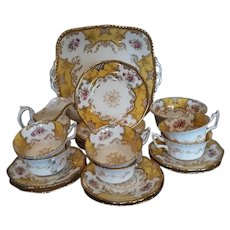 Coalport Yellow Batwing Part Tea Service