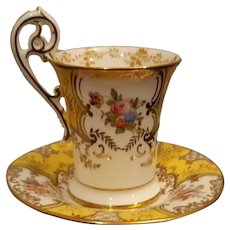 Coalport Yellow Batwing Chocolate Cup and Saucer