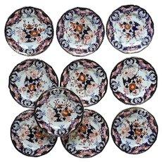 "A Set of Ten  Derby Dinner Plates ""King's Pattern"""