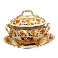 Derby Sauce Tureen and Stand, Tree of Life Pattern,