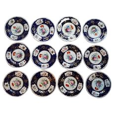 A  Set of Twelve Early Derby Dinner Plates.