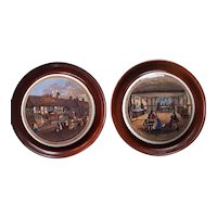 A Pair of Framed Prattware Pot Lids with Shakespeare Connections