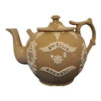 A large 19th Century Bargeware Globular Teapot