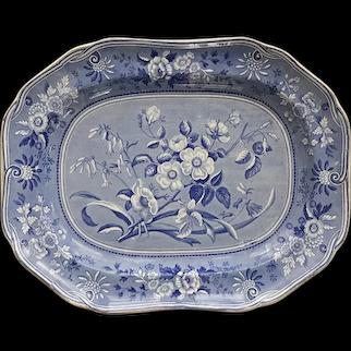 A Copeland and Garrett Botanical Series Blue and White Transfer Printed Platter