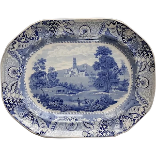 """A Staffordshire Blue and White Transfer Printed Platter """"Fonthill Abbey"""""""