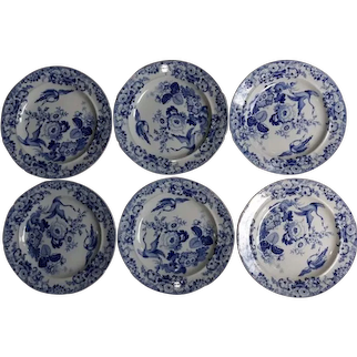 A  Set of Six Hick and Meigh Exotic Birds Pattern Plates