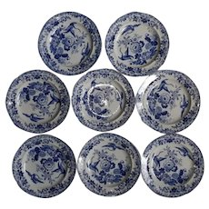 A Set of Eight Hick and Meigh Exotic Birds Pattern Plates