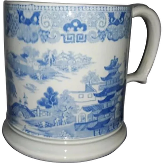 A Large Pearlware Transfer Printed Cider Mug