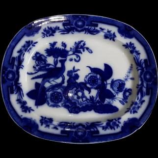 An Ironstone  Flow Blue Platter by Ridgway & Morley, Pheasant Pattern,