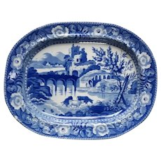 """Blue and White Transfer Printed Platter """"Ruined Castle"""""""
