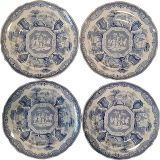 """A Set of Four of Blue and White Transfer Printed Plates in the """"Antiques"""" Pattern."""